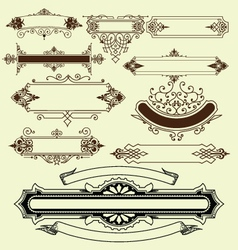 Vintage floral decorative border elements vector