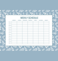 Weekly schedule planer template vector