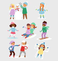 winter christmaskids playing games outdoor street vector image