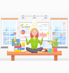 woman meditates on work place in business office vector image