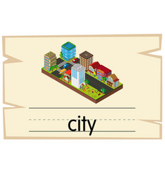 wordcard template for city scene vector image