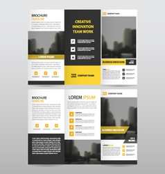 Yellow triangle business trifold Leaflet Brochure vector