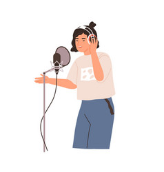 Young singer singing and recording song vector