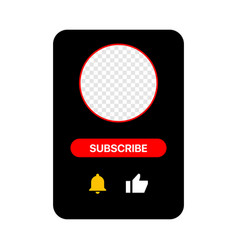 Youtube profile interface black pop up window vector