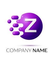 Z letter splash logo purple dots circle bubble vector
