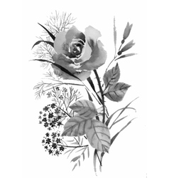 Beautiful hand-drawn monochrome flowers and herbs vector image