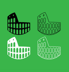 coliseum icon black and white color set vector image vector image