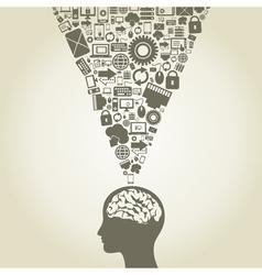 Computer a brain vector image