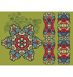 Decorative star and two psychedelic patterns vector image