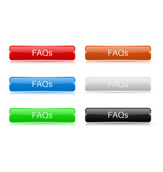 faqs buttons glass rectangular 3d icons vector image