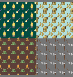 hiking seamless pattern camping gear hike outdoor vector image