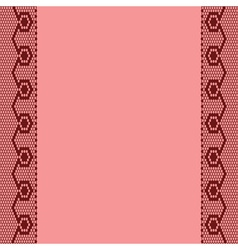 pink background with two vertical lace ribbons vector image