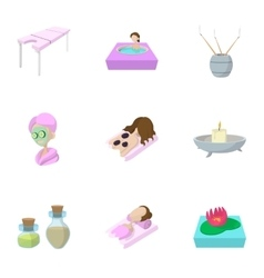 Relaxation icons set cartoon style vector image
