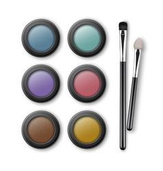 set of multicolored eye shadows with applicators vector image vector image