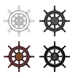 wooden ship steering wheel icon in cartoon style vector image
