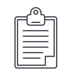 clipboard line icon sign on vector image