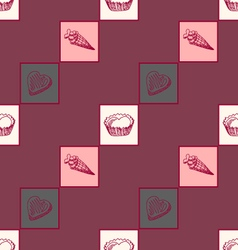 geometric seamless pattern with sweets-2 vector image vector image