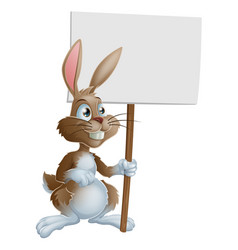 rabbit holding sign cartoon vector image