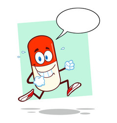 smiling pill capsule cartoon character running vector image vector image