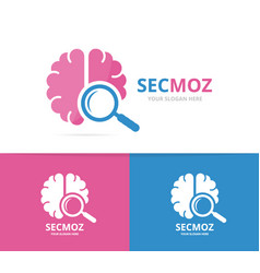 brain and loupe logo combination education vector image