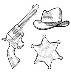 doodle cowboy sheriff vector image