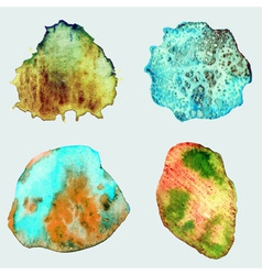 Four abstract hand drawn watercolor stones vector image