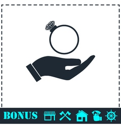 Male hands holding engagement ring icon flat vector image