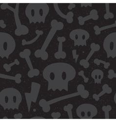 Skulls and bones black pattern vector image