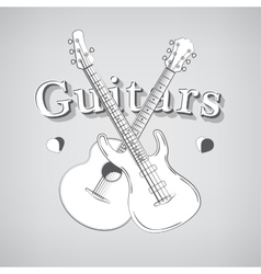 Acoustic and Bass Guitars vector image vector image