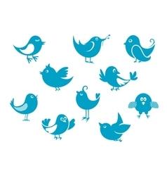Cute little cartoon bird icons vector image vector image