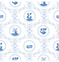 Delft blue seamless pattern vector image vector image