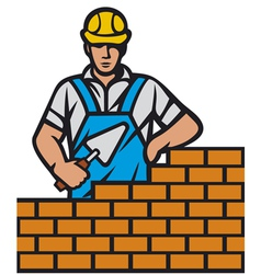 mason with brick and trowel in hand vector image