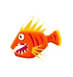 Red agressive fantastic aquarium tropical fish vector