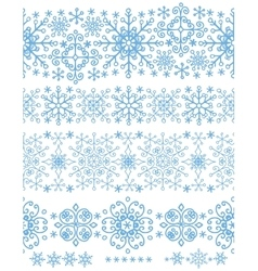 Snowflakes seamless borders setWinter pattern vector image vector image