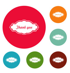 thankee label icons circle set vector image vector image
