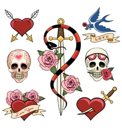 Various Heart Skull and Dagger Tattoo Graphics vector image