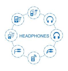 8 headphones icons vector image