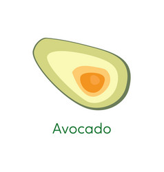 Avocado pieces slice isolated on white background vector