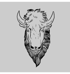 Bison Mascot Head vector