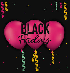 black friday poster with three magenta balloons vector image