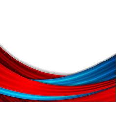 Blue and red abstract smooth waves background vector