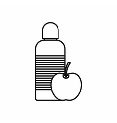 Bottle of water and apple icon outline style vector image