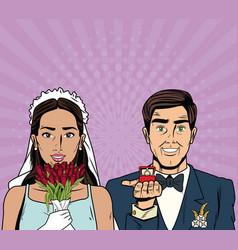 bride and groom pop art cartoon internet security vector image