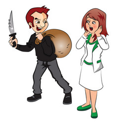 burglar threatening woman with knife vector image