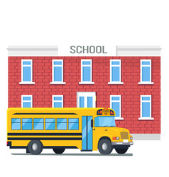 bus passing school isolated cartoon vector image