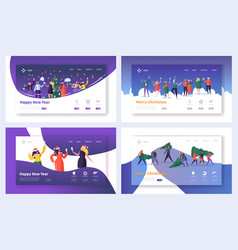 Business corporate christmas landing page set vector