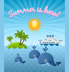 calm summer scene with whales sun island and vector image