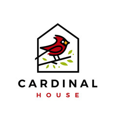 cardinal bird house home roof mortgage line color vector image