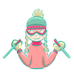 cartoon girl skiing in winter vector image