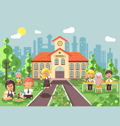 Children characters schoolboy vector